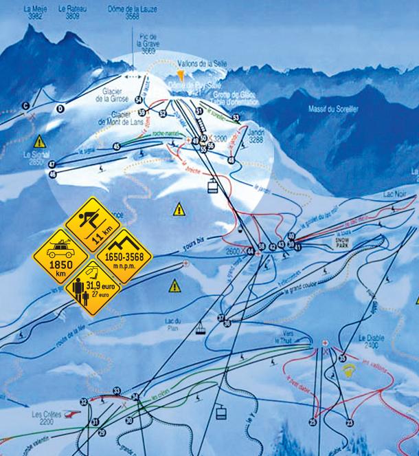 Narty w Alpach. Girose i Mont de Lans - Francja