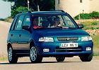 MAZDA Demio 98-00, rok produkcji 1998, kombi, widok przedni prawy, samoch�d 5-drzwiowy, kolor niebieski jasny