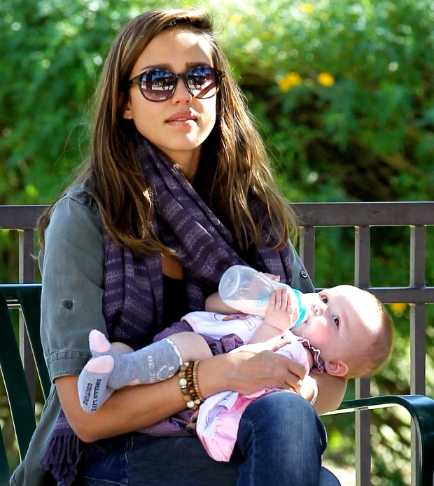 Jessica Alba and her girls, Honor and Haven, with husband Cash Warren, enjoying the park on Saturday, January 28th, 2012  X17online.com *** Local Caption ***  Jessica Alba