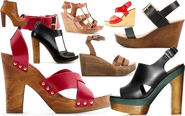 Buty z korkow� i drewnian� podeszw�
