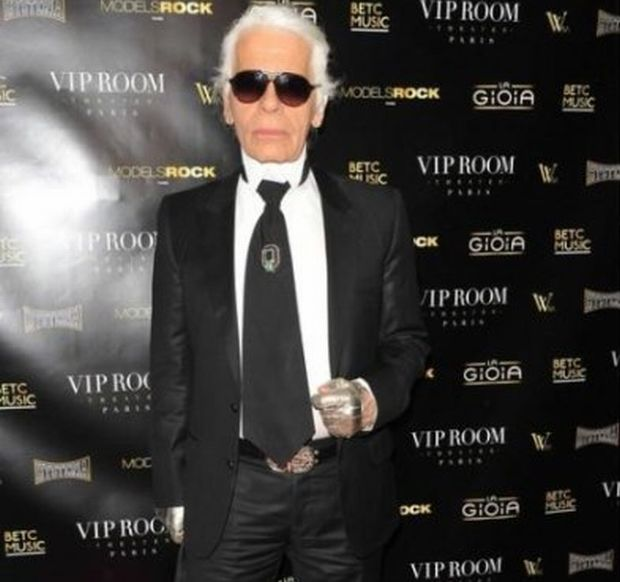 Karl Lagerfeld attend the opening of Jean Roch's Gioia restaurant at the VIP Room nightclub. Paris, FRANCE - 5/3/2010./Credit:BENAROCH/SIPA/1003061635