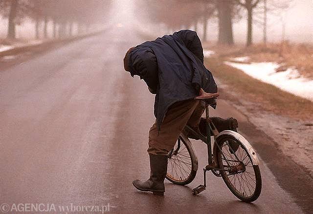 Pijany pieszy prowadzący rower (zdjęcie ilustracyjne)