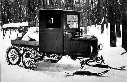 Do Forda T dokładano płozy na śnieg...