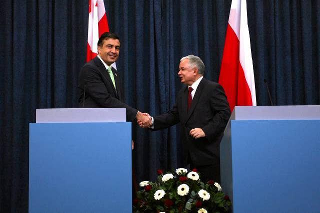 Prezydent Gruzji Michaił Saakaszwili i prezydent Polski Lech Kaczyński, Warszawa, 2009 r.