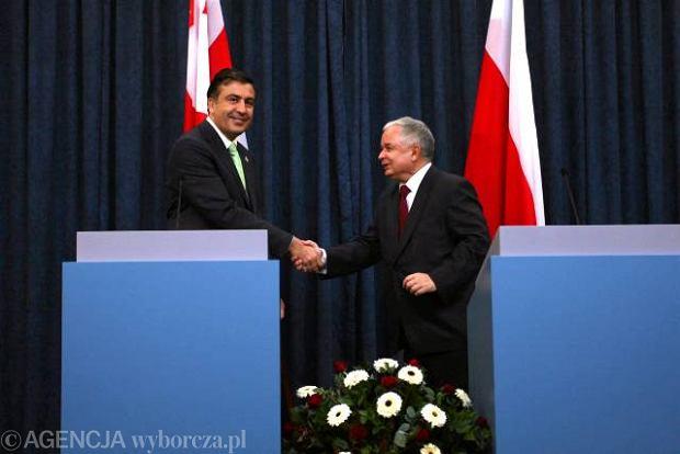 Prezydent Gruzji Michai� Saakaszwili i prezydent Polski Lech Kaczy�ski, Warszawa, 2009 r.