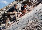 Piotr Szrek (z lewej) i Grzegorz Niedźwiedzki szukają śladów tetrapoda w kamieniołomie w Zachełmiu
