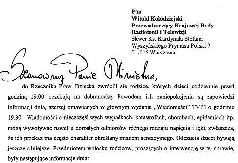Pismo Rzecznika Praw Dziecka do szefa Krajowej Rady Radiofonii i Telewizji