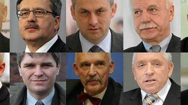 Jarosław Kaczyński, Bronisław Komorowski, Grzegorz Napieralski, Andrzej Olechowski, Waldemar Pawlak, Marek Jurek, Bogusław Ziętek, Janusz Korwin-Mikke, Andrzej Lepper, Kornel Morawiecki