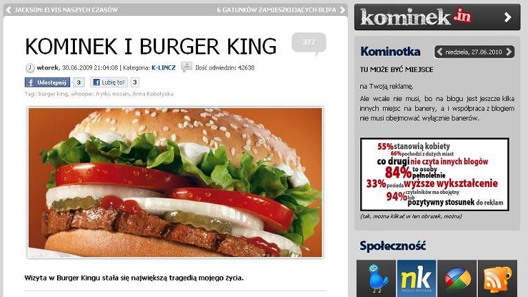 Wpis Kominka o Burger Kingu