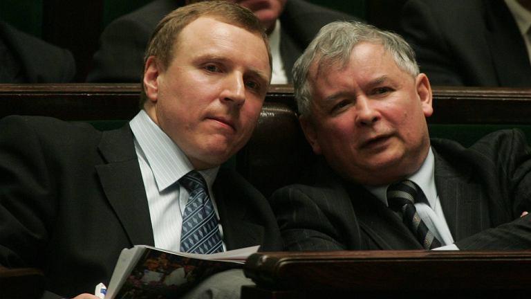 Jacek Kurski i Jarosław Kaczyński w 2006 roku