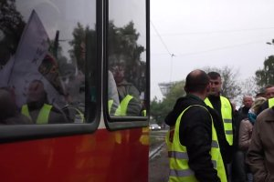 Protest g�rnik�w Kompanii W�glowej w Rudzie �l�skiej