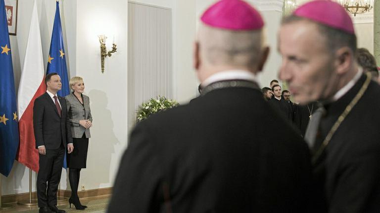 Andrzej Duda z małżonką podczas podczas spotkania z przedstawicielami religii obecnych w Polsce