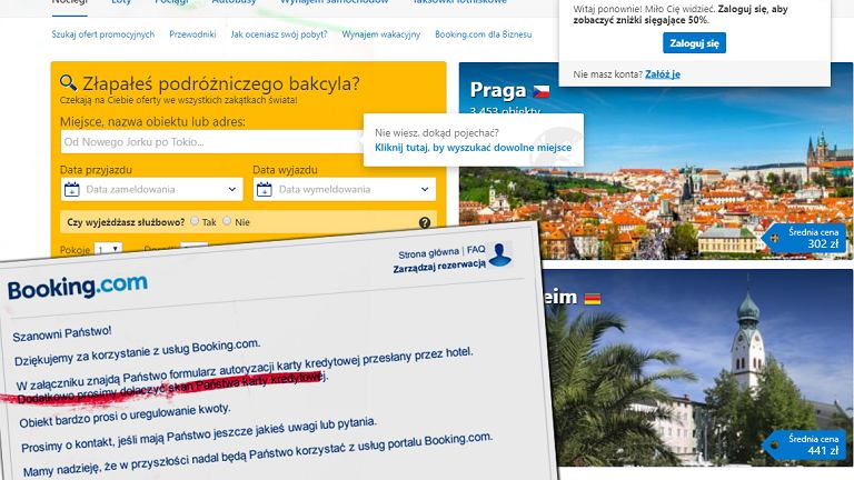 Serwis Booking.com może poprosić o skan karty