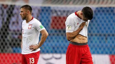 Robert Lewandowski po przegranym meczu Polska - Kolumbia na MŚ 2018 w Rosji. Kazań, 24 czerwca 2018