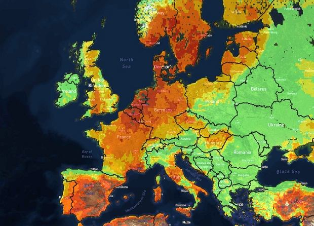 Mapa zagrożenia wystąpienia pożarów dla Europy - 27 lipca 2018