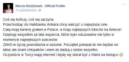 Marcin Możdżonek o transferze
