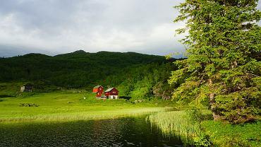 Widok na hyttę rodziny Netlandów w pobliżu fiordu Hardanger w Norwegii