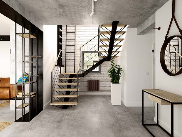 We wnętrzach industrialnych dobrze prezentują się 'łamane' schody zrobione z połączenia drewna i stali. H+Architektura Damian Hołownia, haplus.pl