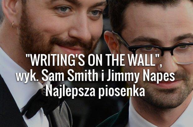 Oscary 2016 za nami! W nocy z 27 na 28 lutego odbyła się 88. ceremonia wręczenia Oscarów, najważniejszych nagród w świecie kina. Już znamy wszystkich laureatów nagród Amerykańskiej Akademii Filmowej za rok 2016. Statuetkę w kategorii najlepszy utwór otrzymał  Sam Smith, za utwór Writing's on the Wall.