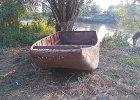Dwuczłonowa łódź z I wojny światowej na dnie Sanu