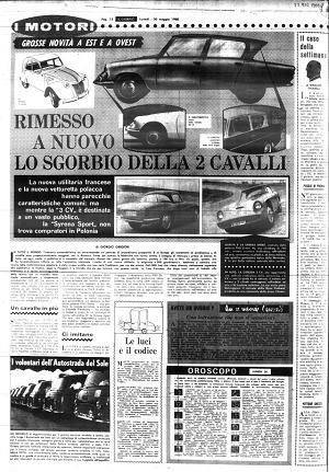Dodatek I Motori dziennika Il Giorno z 31 maja 1960 roku, a w nim artykuł o Syrenie Sport