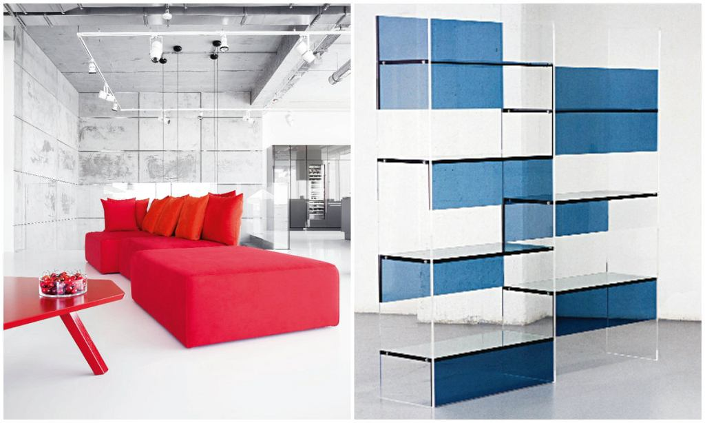 Le Monde sofa zaprojektowana dla polskiej marki Noti. Uwagę zwraca oparcie w postaci stelażu ukrytego pod kilkoma rzędami poduszek (z lewej)  Atiha szklana biblioteczka. Łączy w sobie elementy samonośne i podwieszane, L'ArcoBaleno