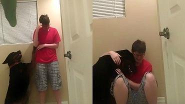 Chora na autyzm dziewczyna dostaje ataku paniki. To, co robi pies, żeby jej pomóc... NIESAMOWITE!