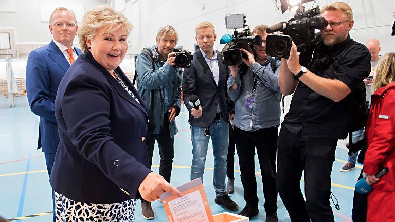Premier Norwegii oddaje głos w wyborach