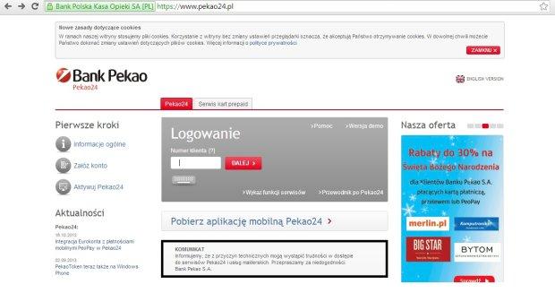 Znów problemy z logowaniem w Pekao24. Bank: to większy ruch w serwisie