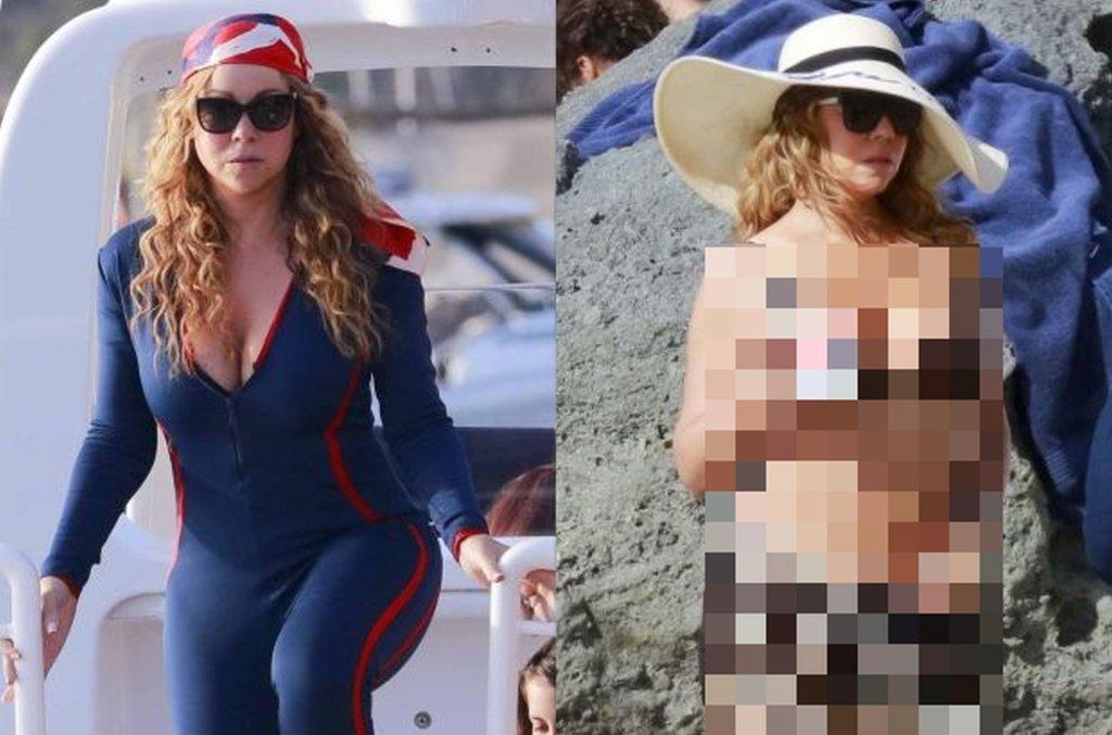 Zdjęcie numer 1 w galerii - Mariah Carey na plaży w kombinezonie. Dzień później? W BIKINI.