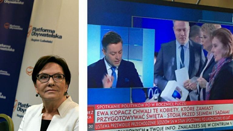 Ewa Kopacz i pasek TVP Info