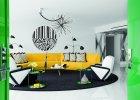Salon to kompozycja mebli, którą spina w całość okrąg czarnego dywanu (na zamówienie). Fotele są kopiami egzemplarza znalezionego na targu staroci. Lampy za starą odrestaurowaną sofą to reedycje modelu MFL-3 Serge'a Mouille`go z 1952 roku. Stolik ze szklanym blatem - Rodolfo Dordoni dla Minotti.