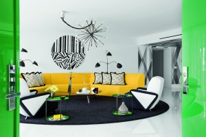 Czarno-bia�e mieszkanie z akcentami koloru