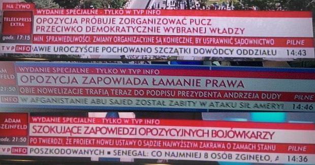 """Jak TVP Info pokazywało demonstrację przed Sejmem: """"Opozycja zapowiada łamanie prawa"""", """"Próba puczu"""", """"Słaba frekwencja"""""""