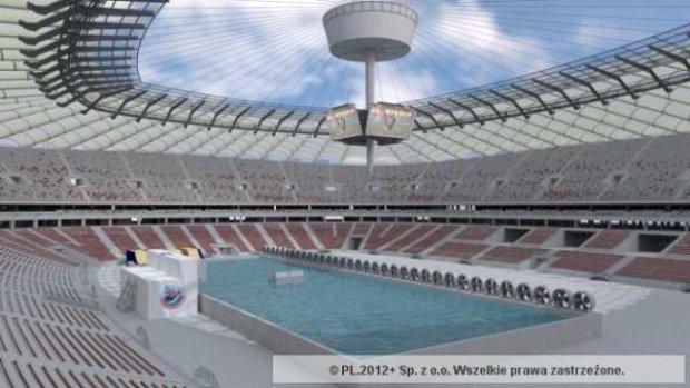 Tak ma wygl�da� basen na Stadionie Narodowym przygotowany do rozgrywania zawod�w Pucharu �wiata w windsurfingu