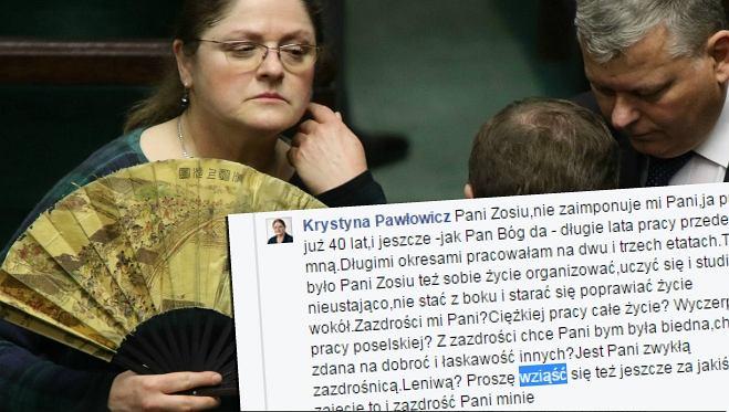 Wpis Pawłowicz na FB