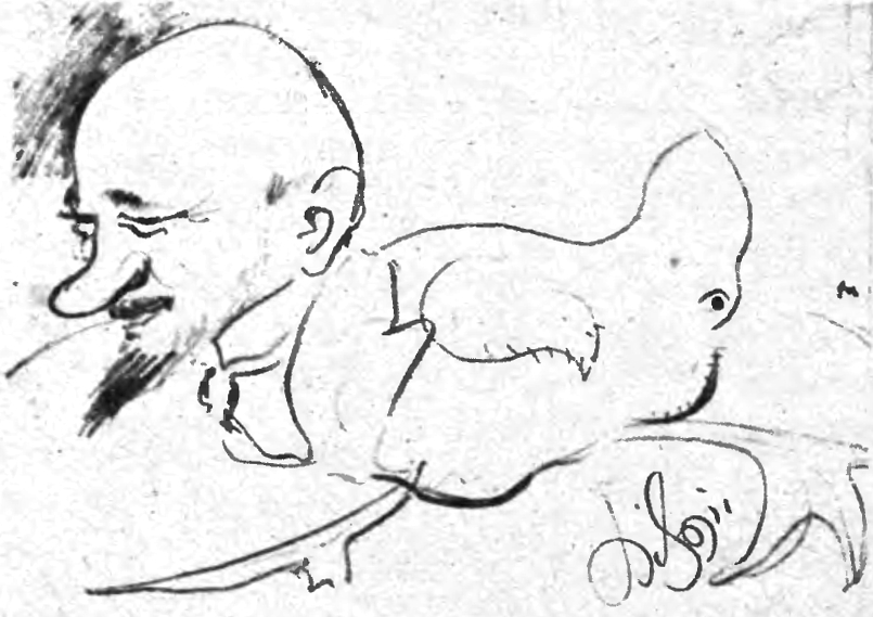 Karykatura Makuszyńskiego autorstwa Kazimierza Sichulskiego, opublikowana w 1946 r. w ''Przekroji'' (fot. Wikimedia.org / Domena publiczna)