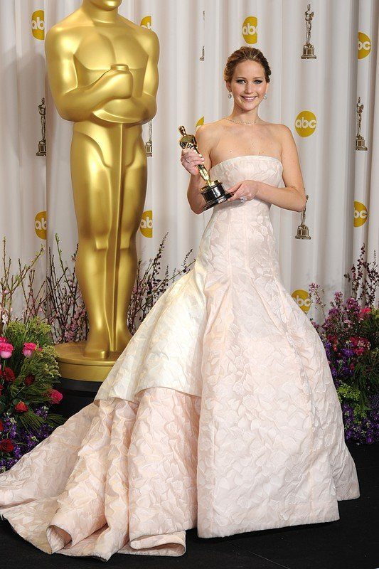 Jennifer Lawrence with the Oscar for Performance by an Actress in a Leading Role for Silver Linings Playbook at the 85th Academy Awards at the Dolby Theatre, Los Angeles.