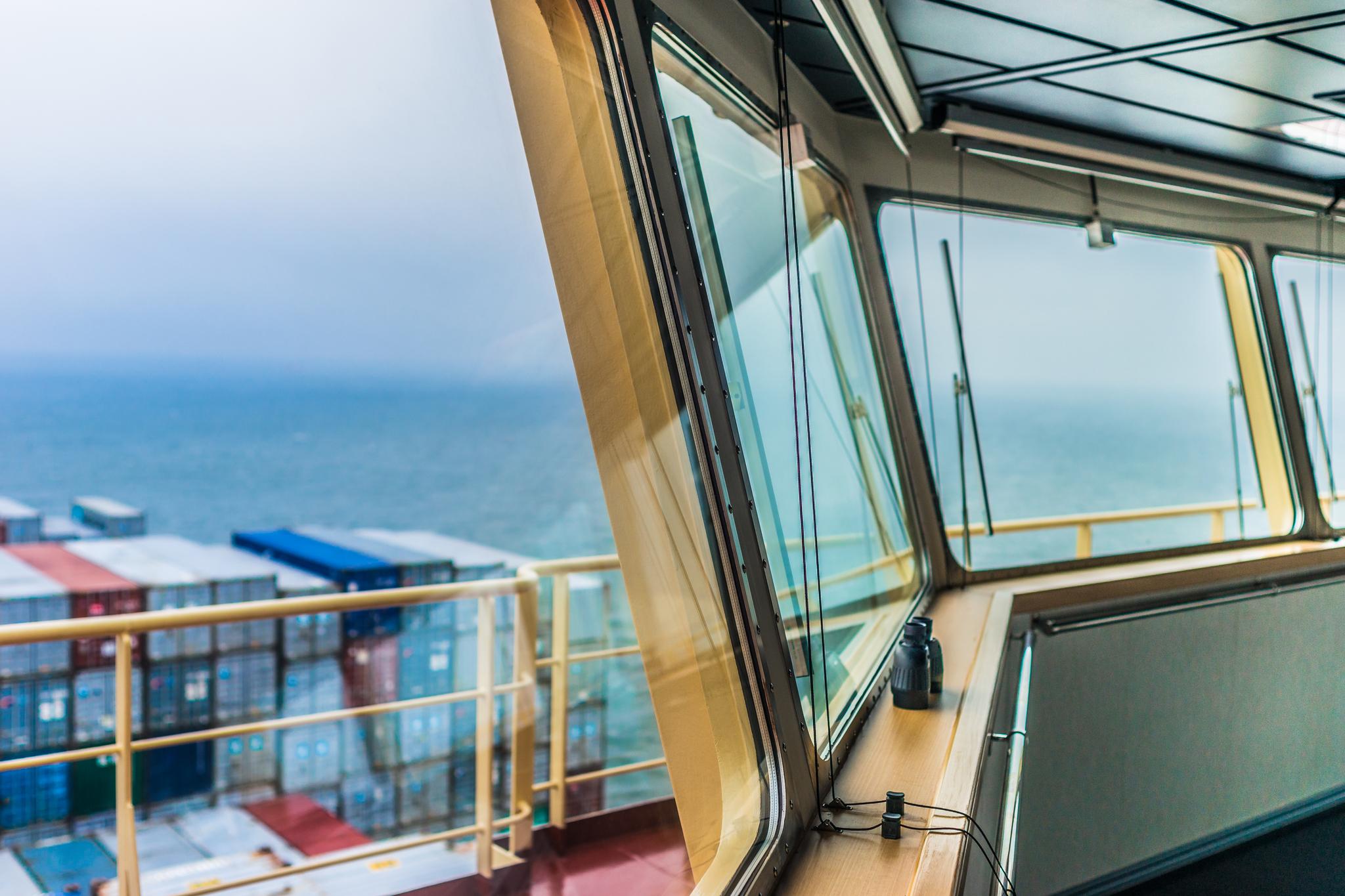Widok z mostka Mayview Maersk (fot. Robert Urbaniak)