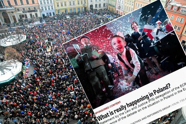 Demonstracja KOD i zrzut ekranu ze strony politico.eu