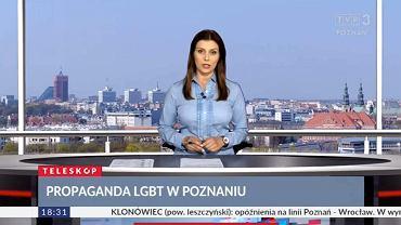Agata Wojtkowiak zapowiada w TVP Poznań materiał Anny Molskiej o Marszu Równości