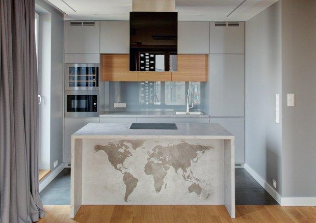Wyspa kuchenna z betonu -> Kuchnia Z Wyspą Grafika