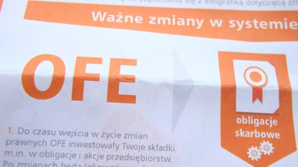 Ulotka reklamowa zmian w OFE