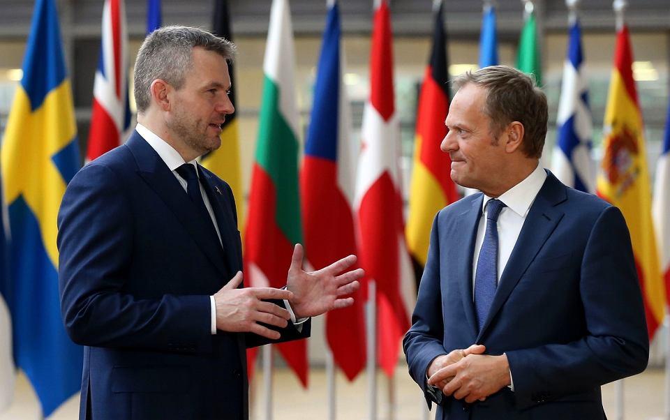Premier Słowacji Peter Pellegrini i szef Rady Europejskiej Donald Tusk