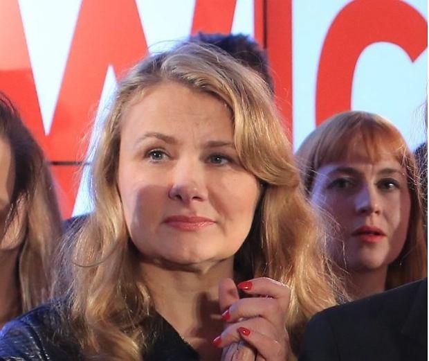 Katarzyna Piekarska podczas wieczoru wyborczego Zjednoczonej Lewicy w 2015 r.