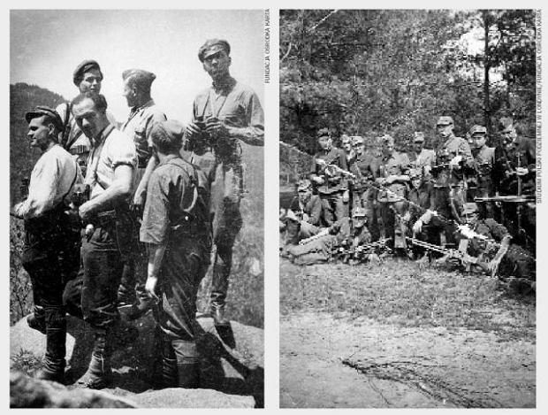 Z lewej: żołnierze UPA w Karpatach Wschodnich, lata 40. Z prawej: oddział walczącego z Ukraińcami kapitana Władysława Kochańskiego, okolice Huty Stepańskiej, 1943 r.