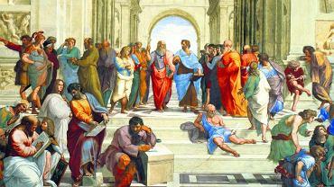 W centrum sławnego, namalowanego w Pałacu Watykańskim fresku Rafaela ''Szkoła Ateńska'' widzimy dwie postacie. Platon wskazuje palcem niebo jako źródło wiecznych i niezmiennych idei. Natomiast jego uczeń Arystoteles (spędził w Akademii mistrza 20 lat) wskazuje dłonią ziemię, co jest wyrazem bardziej praktycznej, opartej na doświadczeniu koncepcji filozofii. Ale i Platon nie stronił od dawania konkretnych wskazówek, szczególnie w dziedzinie polityki