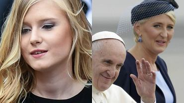 Kinga Duda w eleganckiej czerni wita�a papie�a. Wypad�a lepiej od pierwszej damy?