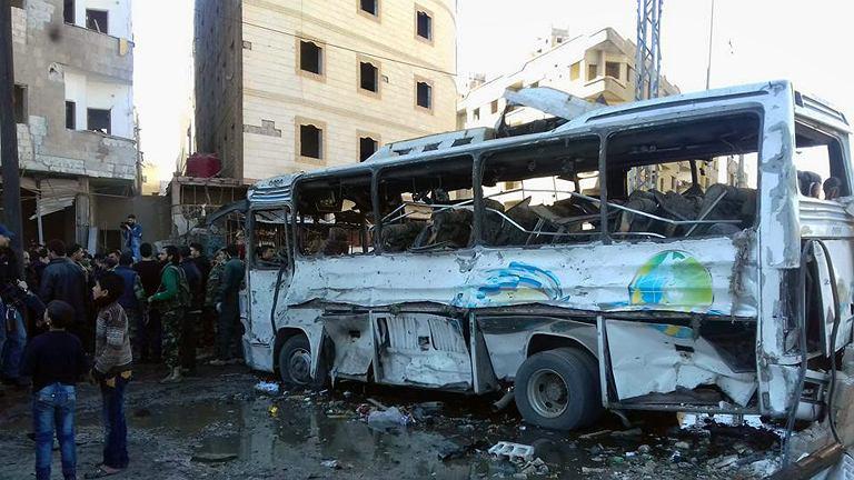 Zrujnowany Damaszek, stolica Syrii