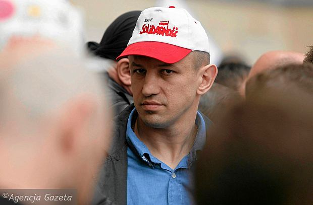 Tomasz Adamek podczas demonstracji górników. Katowice, 29 kwietnia 2014